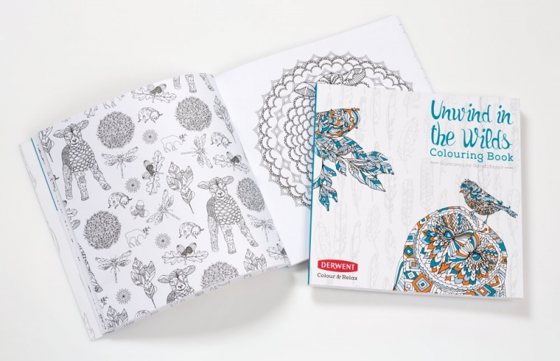 DERWENT Unwind in the Wilds Colouring Book and Pencil Set